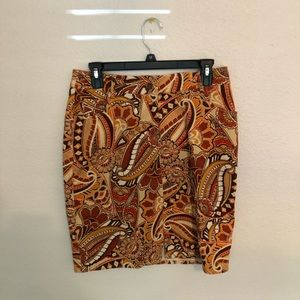 Corduroy pencil skirt in a 60's/70's paisley